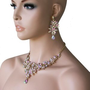 Aurora-Borealis-Rhinestones-Bib-Floret-Necklace-Set-Pageant-Drag-Queen-Bridal-361576090077