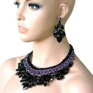 Black-Glass-Beads-Statement-Cleopatra-Necklace-Set-Drag-Queen-Pageant-Bridal-172332740967