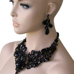 Black-Glass-Crystals-Heavy-Statement-Necklace-Earrings-Drag-QueenPageant-172282233477