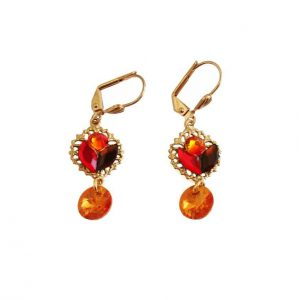 Bright-14K-GP-Orange-Red-Crystals-Mosaic-Earrings-By-Clara-Beau-Made-In-USA-172431400077