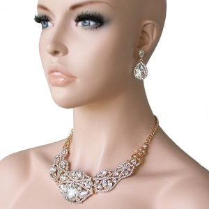 Classic-Clear-Bib-Necklace-Set-Glass-Crystals-Drag-Queen-Pageant-Bridal-172386815067