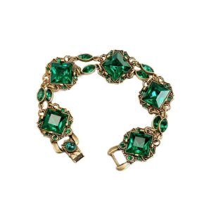 Classic-Green-Deco-Bracelet-By-Shelley-Cooper-Sweet-Romance-Made-in-USA-172553077757