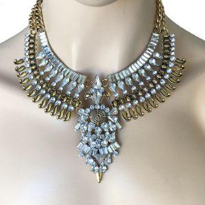 Clear-Rhinestones-Golden-Statement-Bib-Necklace-PageantDrag-Queen-Bridal-172781041887