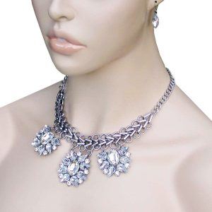 Designer-Inspired-Trendy-Clear-Rhinestones-Glass-Necklace-Set-Pageant-Bridal-361974860467