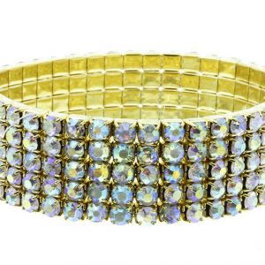 Gold-Tone-075-Wide-Clear-Crystals-Stretch-Bangle-Bracelet-Pageant-Bridal-171820378217