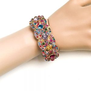Gold-Tone-Multicolor-Crystals-Stretch-Bangle-Statement-Bracelet-Pageant-Party-172811715987