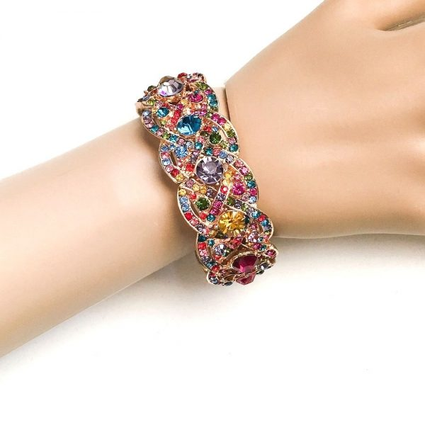 Gold Tone Multicolor Crystals Stretch Bangle Statement Bracelet, Pageant, Party