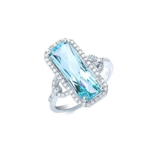 Lab Created Aquamarine Clear CZ Size 10 Statement Ring Sterling Silver Stamp 925