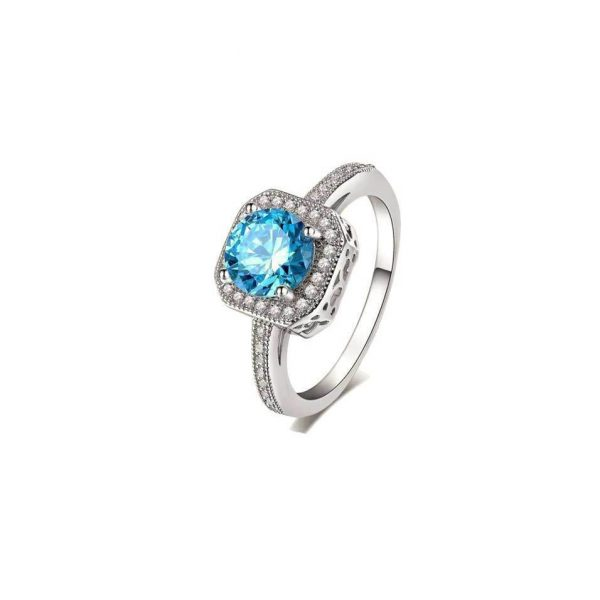 Lab Created Blue Topaz Engagement Ring Stamped 925 Sterling Silver Sizes 6, 7