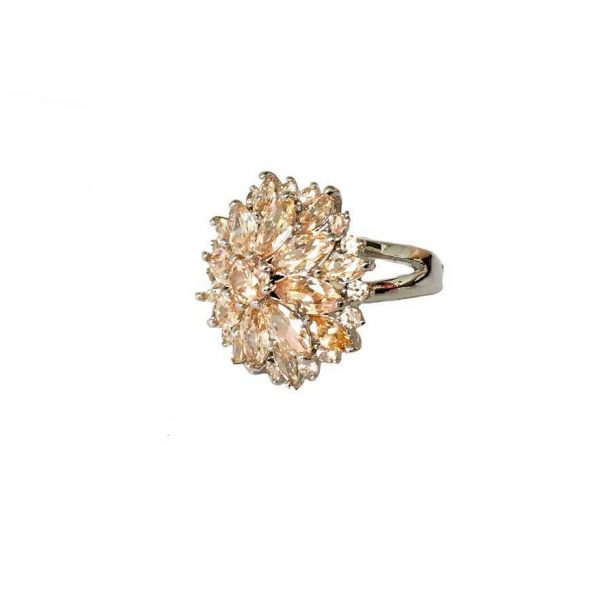 Lab Created Champagne Synthetic Morganite Silver Plated Cluster Ring Sizes 6, 9