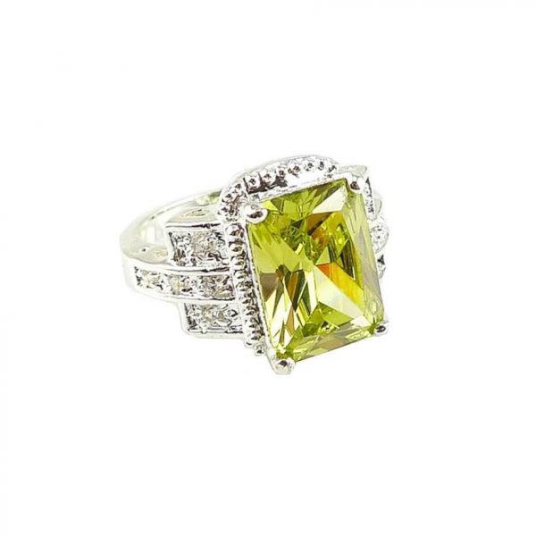 Lab Created Peridot & White Topaz Stones, 925 Sterling Silver Ring Sizes 6 and 8