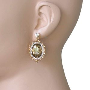 Light-Brown-Clear-Crystals-Victorian-Style-Cabochon-Earrings-Pageant-Bridal-172472986787