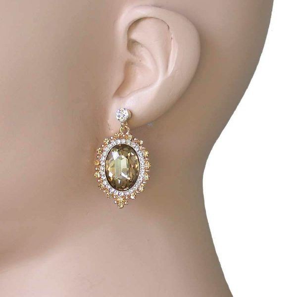Light Brown & Clear Crystals Victorian Style Cabochon Earrings, Pageant, Bridal