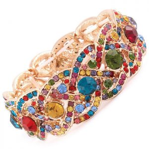 Multicolor-Crystals-Segmented-Stretch-Bangle-Bracelet-Pageant-Prom-361454837707