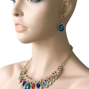 Multicolor-Statement-Necklace-Earrings-Acrylic-Beads-Pageant-Drag-Queen-Party-172572937537
