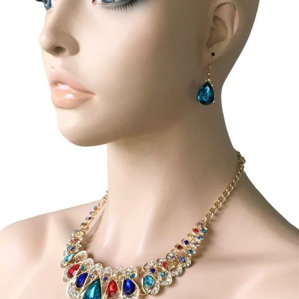 Multicolor Statement Necklace Earrings Acrylic Beads, Pageant, Drag Queen, Party