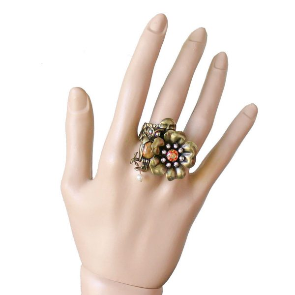 Owl & Flower Adjustable Ring by Mary DeMarco, La Contessa, Made in USA