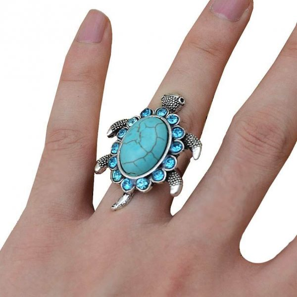 Reconstructed Turquoise & Rhinestones Turtle, Tortoise Cocktail Adjustable Ring