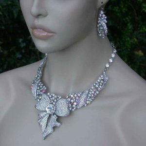 Ribbon-Bib-Necklace-Earrings-Aurora-Borealis-Crystals-PageantDrag-Queen-Bridal-361528724507