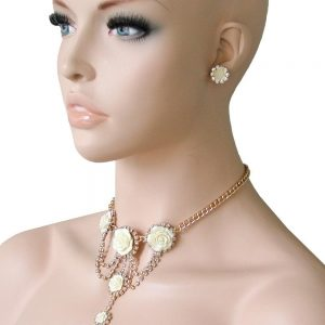 Romantic-Choker-Necklace-Set-Yellow-Rose-Rhinestone-Drag-QueenPageant-Bridal-362094692427