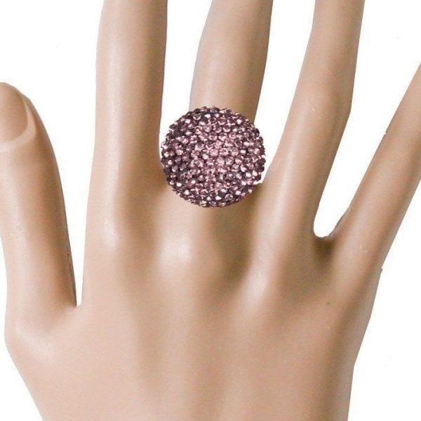 Round Half Ball Stretchable Statement Ring Tea Rose Pink Rhinestones,Drag Queen