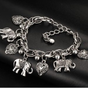 Silver-Tone-Elephant-Hearts-Charmed-Bracelet-Lobster-ClaspAnimal-Jewelry-172678098367