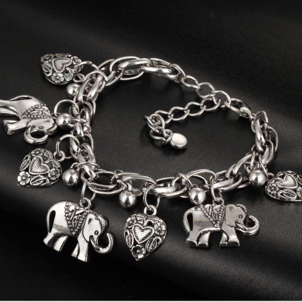 Silver Tone, Elephant & Hearts Charmed Bracelet, Lobster Clasp,Animal Jewelry