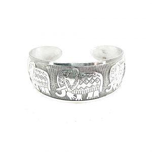 Silver-Tone-Handmade-Cuff-Bangle-Bracelet-Embossed-Indian-Elephants-172794482887
