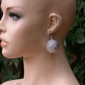 Silver-Tone-Rhinestones-Fireball-Globe-Earrings-Bridal-Pageant-Drag-Queen-361484449267