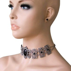Victorian-Inspired-Simulated-Onyx-Black-Cabochon-Choker-Necklace-Earrings-Goth-361803030067