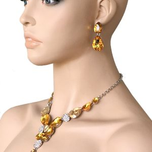 Yellow-Glass-Rhinestones-Evening-Necklace-Set-Drag-Queen-Pageant-Bridal-172748140737