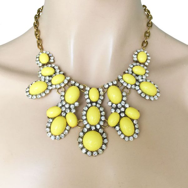 Yellow Lucite & Clear Rhinestones Statement Bib Necklace, Pageant, Urban,Hip Hop
