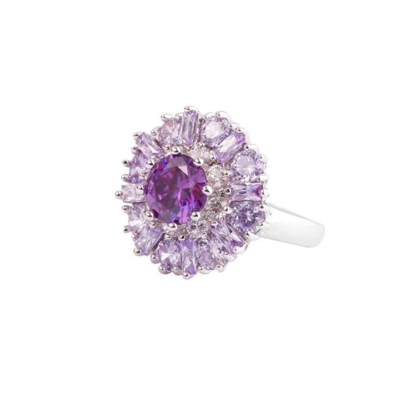 """0.75"""" Diameter Light Amethyst Stamped 925 Sterling Silver Cluster Ring Size 7,8"""