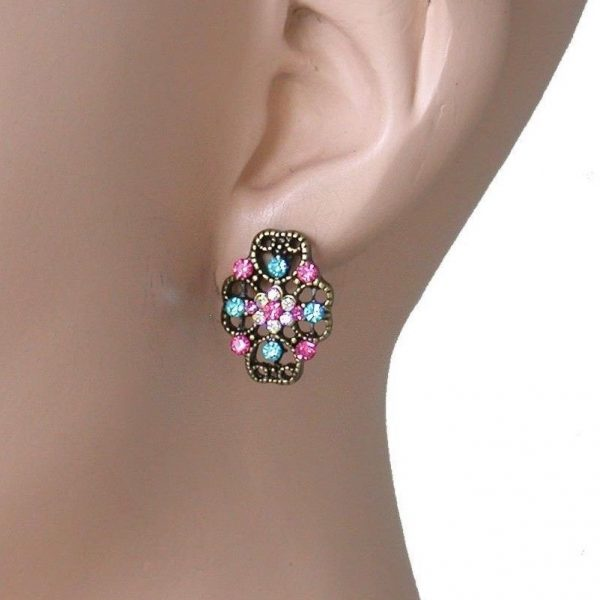 "0.75"" Drop Small Vintage Inspired Filigree Multicolor Rhinestones Post Earrings"