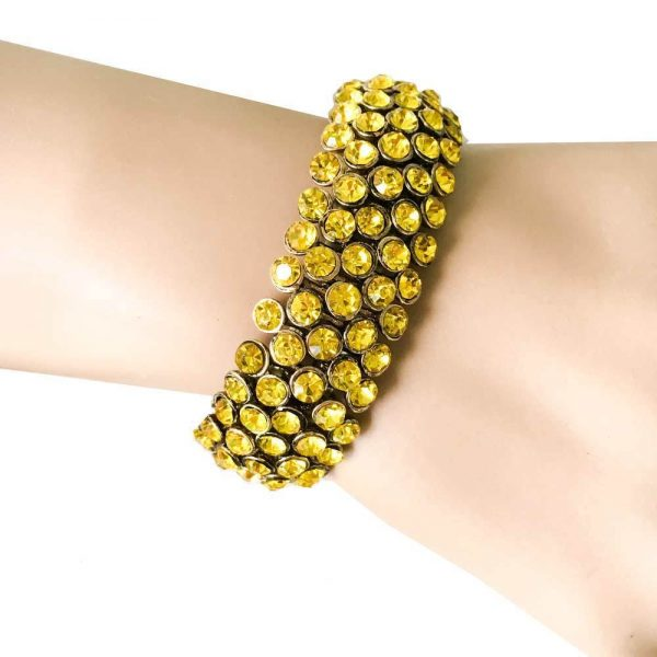 "0.75"" W Bright Yellow Crystals Stretch Bracelet, Pageant, Bridal, Drag Queen"