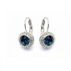1-Drop-Classic-Leverback-Earrings-Clear-Montana-Blue-RhinestonesSilver-Tone-361952168228