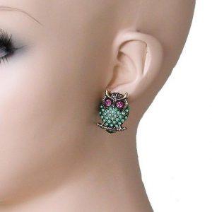 1-Drop-Mint-Fuchsia-Rhinestones-Owl-Earrings-Pierced-Ears-Animal-Themed-362085348098