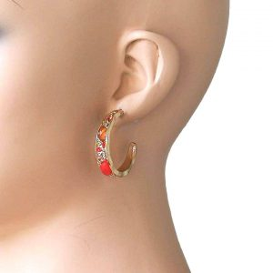 125-Long-Coral-Crystals-Fake-Agate-Huggie-Earrings-Gold-Tone-Pierced-Ears-172779605328