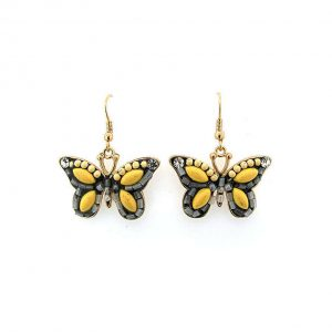 15-Long-Butterfly-Dangle-Earrings-Yellow-Acrylic-Lucite-Beads-Gold-Tone-172195530318