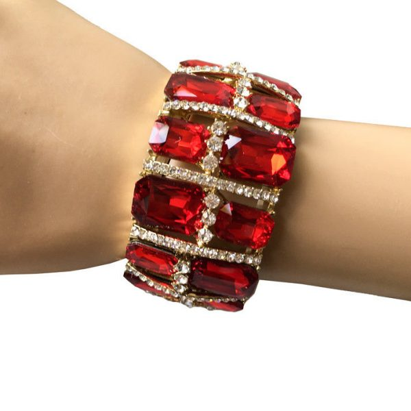 "1.5"" Wide Glass Cranberry Red Glass Stretch Bracelet, Drag Queen, Pageant"