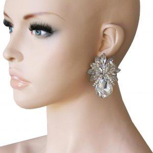 2-Drop-Clear-Acrylic-Rhinestones-Clip-On-earrings-PageantDrag-QueenBridal-362068149398