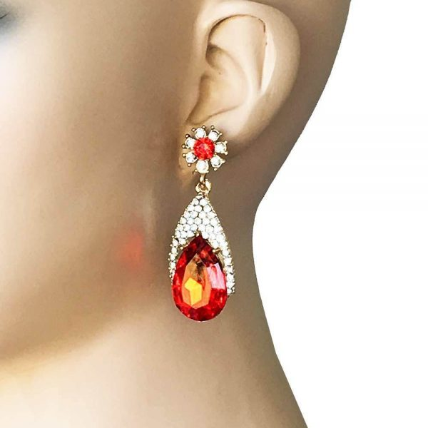 "2.1/8"" Long Earrings, Vivid Red & Clear Rhinestones, Gold Tone,Pageant, Bridal"