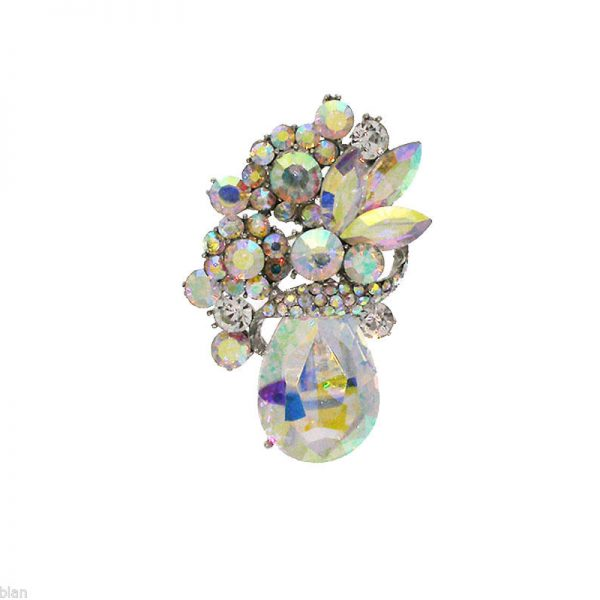 """2.25"""" Tall AB Rhinestones & Crystals Cluster Brooch, Pin, Pageant, Bridal"""