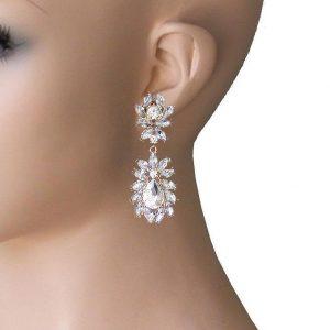 25-Drop-Clear-Rhinestones-Designer-Inspired-Cluster-Earrings-Pageant-Bridal-172794097958