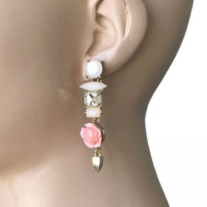 25-Drop-Rose-Pink-Flower-Clear-White-Lucite-Beads-Elegant-Earrings-Pageant-172796685088