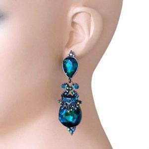 275-Long-Designer-Inspired-Earrings-Blue-Teal-Glass-BridalPageantDrag-Queen-361883676898