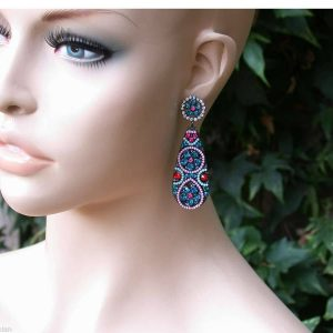 275Teal-Blue-Crystals-Glass-Boho-Bohemian-Style-Earrings-Pageant-172030103628