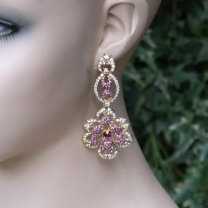 3-Long-Clear-Crystals-Floret-Filigree-Evening-Earrings-Pageant-Bridal-172312670028