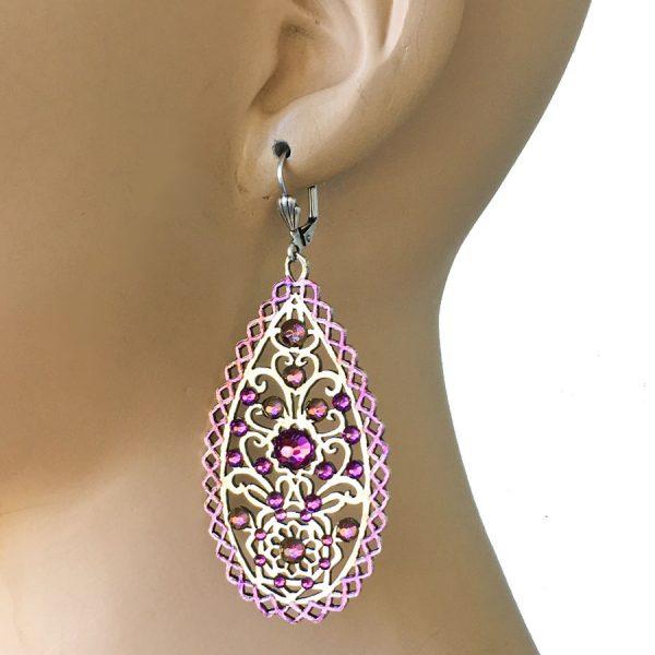 """3"""" Long Purple Crystals Bohemian Style Anne Koplik Earrings, Made In USA,Pageant"""