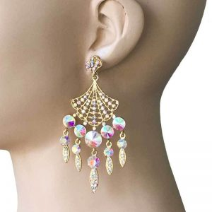 325-Long-Aurora-Borealis-Rhinestones-Chandelier-Earrings-Pageant-Bridal-172787895588